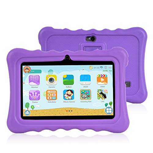 Xgody T702 7 Inch HD Kids Tablet PC for Kids Quad Core Android 8.1 1GB RAM 16GB ROM Touch Screen with WiFi Pre-Loaded 3D Game Dual Camera Purple