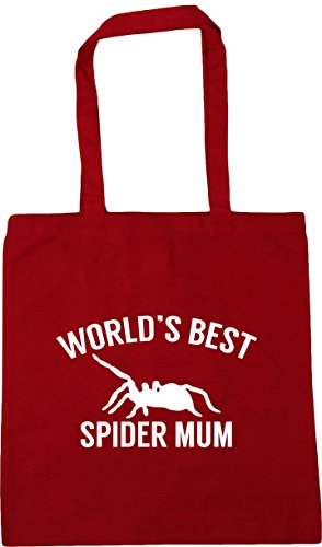 Classic Bag Shopping mum World's best spider 42cm x38cm 10 Red Gym Tote litres Beach HippoWarehouse BOqS8