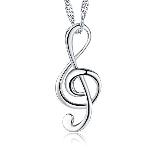 (Move&Moving Silver Musical Note Pendant Chain Necklace for women teenage girls,with a Gift Box)