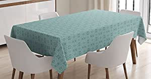 Home Decor Tablecloth by Ambesonne, Vintage Round Floral Pattern with Elegant Ornaments Moroccan Style Decorative Monochromic Print, Dining Room Kitchen Rectangular Table Cover, 60 X 84 Inches, Teal