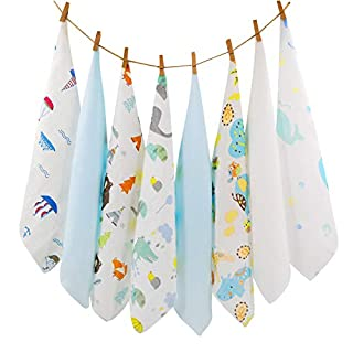 Muslin Baby Washcloths Infant Soft Face Towels Bibs for Newborn Bath with Sensitive Skin Reusable Quickly Absorb Baby Wipes 8 Packs Random Pattern