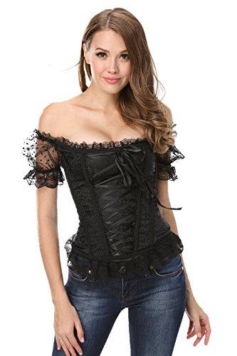 Corsagentop voor dames, met volledige borst, top met mouwen, taille, korset, bustier, dirndl-blouse, klederdrachtshirt