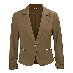 Michel Women's Open Front Lightweight Cardigan Blazer Jacket with Plus Size (1XL ~ 2XL)