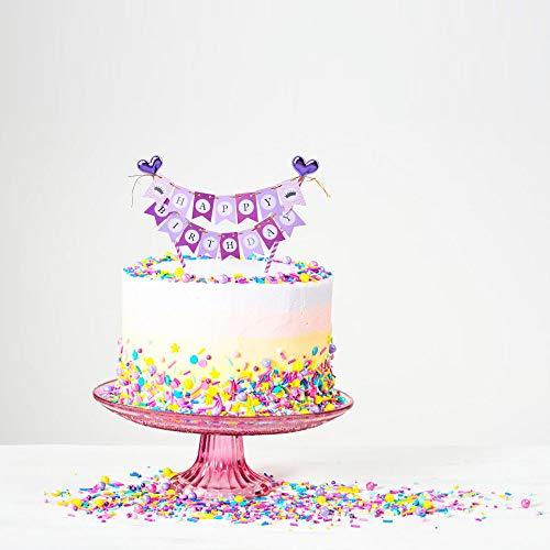 YUINYO Purple Birthday Party Decoration happy birthday banner cake topper,Happy Birthday Cake Bunting - Handmade First Baby GirlS Birthday Party Cake Decoration Supplies (Cake Bunting Birthday 1st)