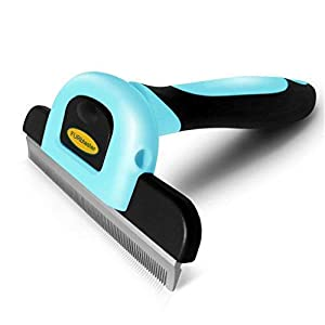 DakPets Deshedding Brush-Dog Hair & Cat Hair Shedding Tool with Stainless Steel Trimming Blade-Effective Grooming Tool for Cats Dogs with Short Medium 31