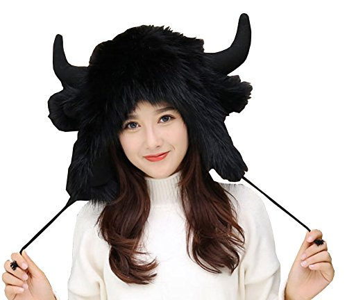 Bomber Hat Earflap Cap Winter Fur Hat Slouchy Beanie Christmas Hat for Women (Black)