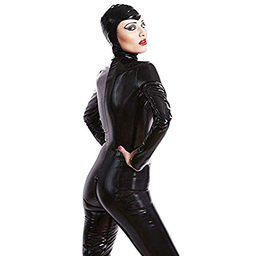 FASHION QUEEN Womens Plus Size Bodycon Faux Leather Catsuit Teddy Clubwear Wetlook Bodysuit Jumpsuit Costume (3XL, Black)