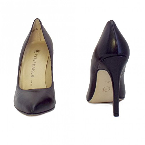 Ladies Chaussures Kaiser Noir Noir Haut De Peter Cuir En Indigo Talon E7gtwdq