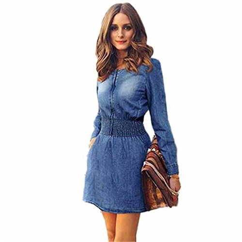 Denim Jeans Dress,Hemlock Women's Ladies Dress Shirt Party Mini Dress (M, Blue)