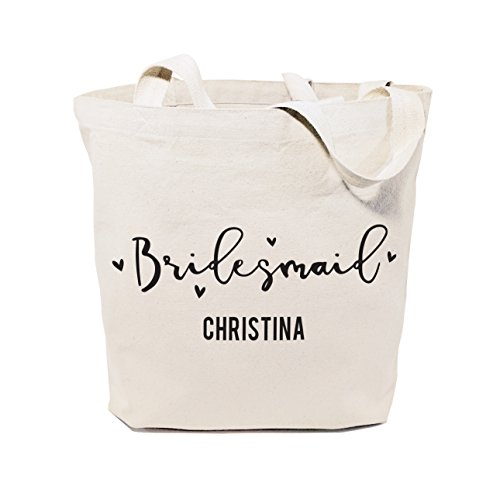 The Cotton & Canvas Co. Bridesmaid Personalized Wedding, Beach, Shopping and Travel Resusable Shoulder Tote and Handbag]()