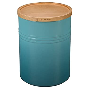 Le Creuset Stoneware 4  Canister with Wood Lid, 22 oz, Caribbean