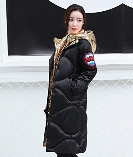Vestes De D'or Avec Le Femme Monochrome Sur Bas Vers D'hiver Parka Poches Longues Le Chaud Côté Manches À wtACqRCSx