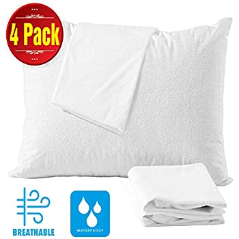 4 Pack Cotton Pillow Protectors Queen 100% Waterproof ❤️Allergy Control Life Time Replacement❤️ Zippered Cotton White Terry Pillow Encasement Washable Long Life Soft Breathable (4 Pack Queen)