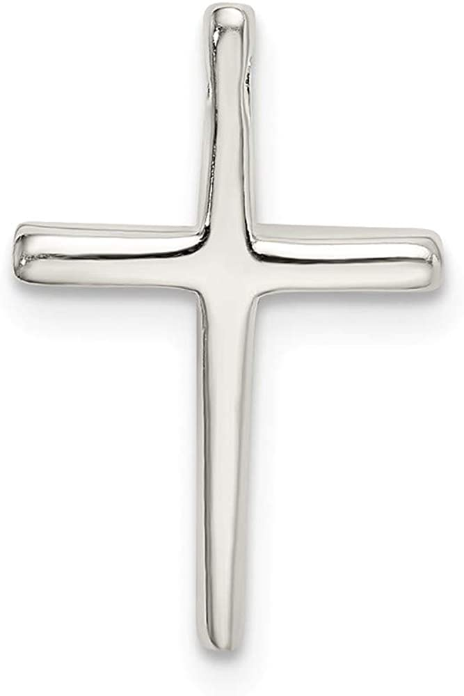 17mm x 12mm Solid 925 Sterling Silver Cross Chain Slide Pendant Charm