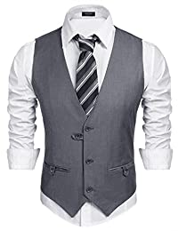 COOFANDY Men's V-Neck Sleeveless Casual Slim Fit Business Jacket Suit Vest Waistcoat
