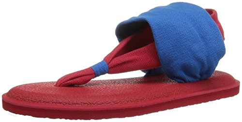 (Sanuk Kids Girls' Yoga Sling Burst Duo Flip-Flop, Blue/red, 02/03 M US Little Kid)