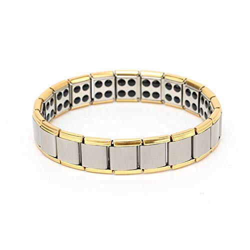 HSQYJ Mens Titanium Steel Magnetic Stretch Wristband Bracelet Double Strong Magnets Therapy Bracelet Elegant Men's Silver Gold Two Tone Fashion - Magnetic Stretch Bracelet