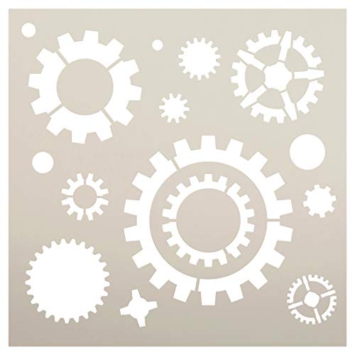 "Industrial Gears Pattern Stencil by StudioR12 | Reusable Mylar Template | Use to Paint Wood Signs - Pallets - Pillows - DIY Steampunk Decor - Select Size (12"" x 12"")"