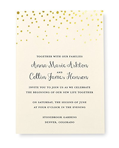 Gartner Studios Gold Foil Dot Invitation Kit, Set of 50