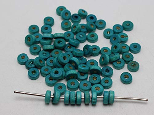 500 Blue 8X3mm Column Heishi Wood Beads~Wooden Beads - Blue Garland Saucer