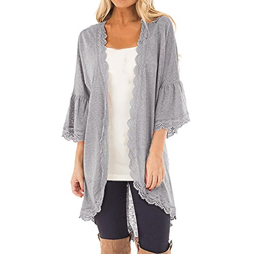 Syban Women's Loose Casual 3/4 Bell Sleeve Lace Kimono Cardigan (Large,Yy-Gray ) (Sleeve Sweater Kimono V-neck)