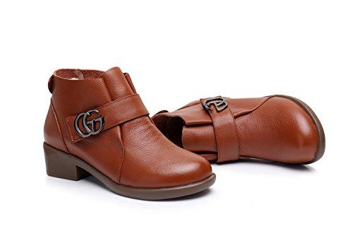 tonda irregolare Stivali Scarpe colori tallone Brown di dimensioni corto Testa Velcro solidi con grandi DYF UvqdSCwS