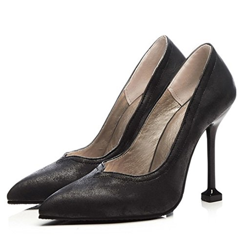 Women Black Silp TAOFFEN Pump Heel High On Classic Heel Shoes Fashion adq7H