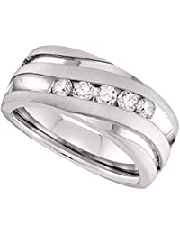 10kt White Gold Mens Round Diamond Matte Grooved Wedding Band Ring 1/2 Cttw (I1-I2 clarity; G-H color)