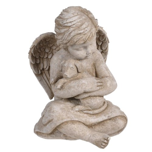 Grasslands Road Cherub with Dog, 7-Inch, Gift Boxed (Basket Resin Pet)