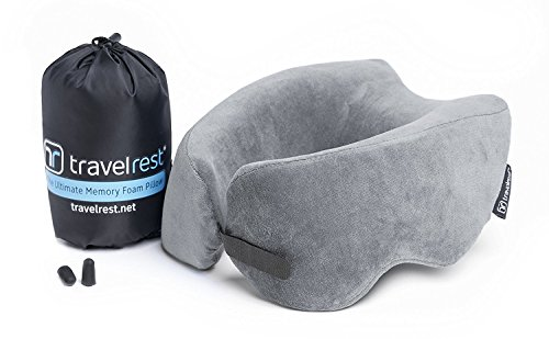NEW Travelrest - Ultimate Memory Foam Travel Pillow - Therapeutic, Ergonomic & Patented - Washable Cover - Most Comfortable Neck Pillow -- Compresses to 1/4 of it's Size