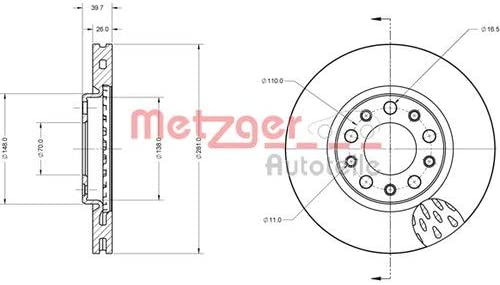 Metzger Bremsscheiben /ø290mm Bremsbel/äge Set Vorne
