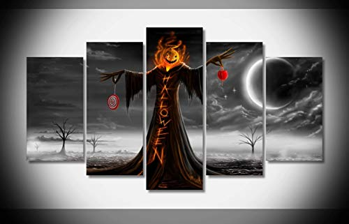Canvas Deco 5pcs Canvas Print Wall Art Work Scary Halloween Wallpaper for Home Decorations Wall -