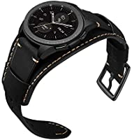 Leotop Compatible with Samsung Galaxy Watch 46mm/Gear S3 Frontier/Classic Bands, 22mm Replacement Genuine Leather Cuff Strap with Stainless Steel ...