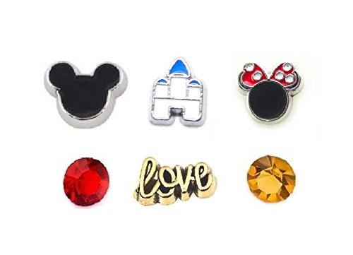 Jewelry Princess Locket Heart Charm (Cherityne Mickey Lover Theme Set of 6 Floating Charms for Locket Pendant)