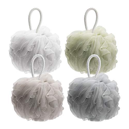 AmazerBath Shower Bath Loofahs Sponge Shower Pouf Body Scrubber Ball 75g/PCS Mesh Pouf Bath Sponge-4 Pack (Neutral Colors)