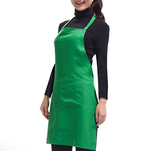 DDU(TM) 1Pc Green- Practical Frock Apron With Front Pocket for Kitchen Cooking Housework Homework