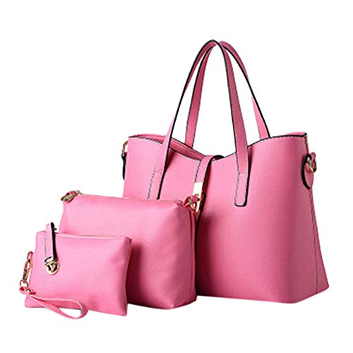 (Gogoodgo Crossbody Bags Shoulder Bag for Women Stylish Ladies Messenger Bags Purse and Handbags Set 3pcs Pink)