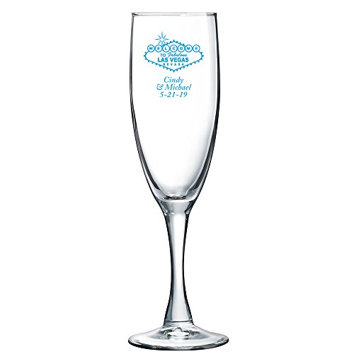 Personalized Color Printed Champagne Flute - Las Vegas Sign - Blue - 12 pack