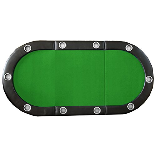 84'' 10 Player Texas Hold'em Folding Poker Table Top Green with Carrying Bag by IDS (Image #4)