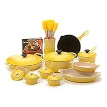Le Creuset Soleil Yellow Enameled Cast Iron and Stoneware 20 Piece Cookware Set with Fait Tout Bistro Pan