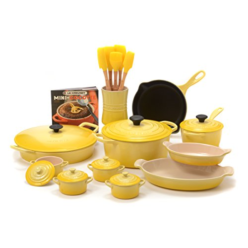 Le Creuset Soleil Yellow Enameled Cast Iron and Stoneware 20 Piece Cookware Set with Fait Tout Bistro Pan