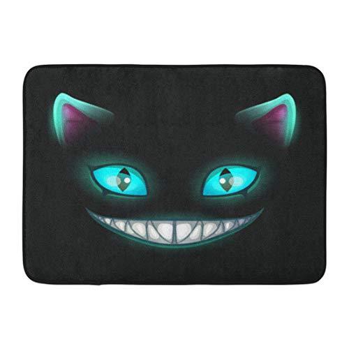 Emvency Doormats Bath Rugs Outdoor/Indoor Door Mat Blue Smile Fantasy Scary Smiling Cat Face on Cheshire Alice Creepy Fairy Bathroom Decor Rug Bath Mat 16