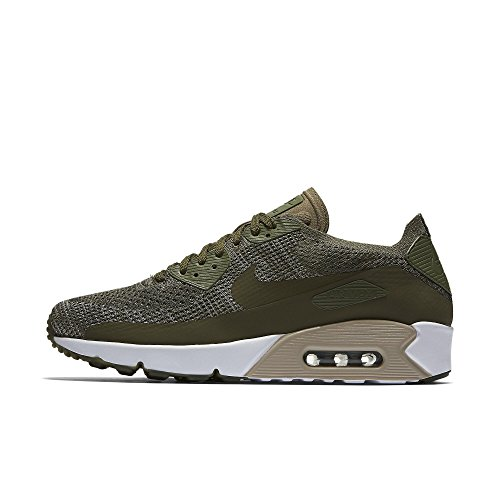 Nike Mens Air Max 90 Ultra 2.0 Flyknit Low Top Lace Up Running, Green, Size 12.0