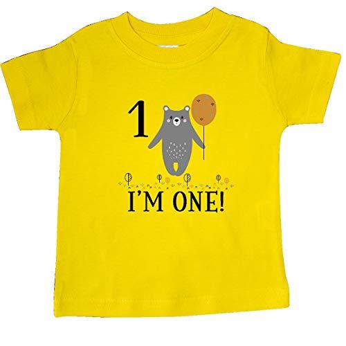 inktastic - 1st Birthday Woodland Bear 1 Year Baby T-Shirt 6 Months Yellow 3559c