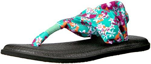 Sanuk Frauen Yoga Sling 2 Flip Flop Pfau Waikiki Blumen