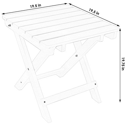 Sunnydaze All-Weather Folding Patio Side Table, Faux Wood Design, Salmon by Sunnydaze Decor (Image #2)'