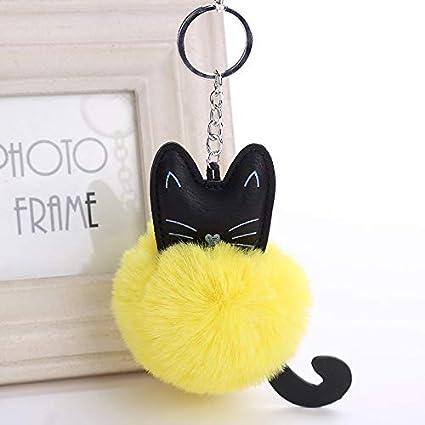 Amazon.com: Agennix Store Bunny Keychain Cat Pompom Bunny ...