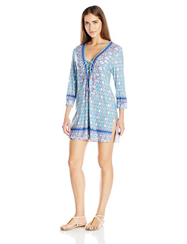 Profile Blush by Gottex Women's India Tunic Cover up, Multi/Blue, Medium