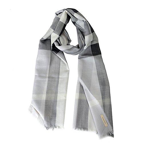 - Burberry Unisex Wool Silk Plaid Multi-Color Lightweight Scarf