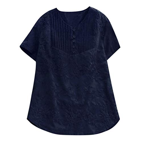 Fashion Women Blouses Casual Loose Solid O-Neck Shirt Short Sleeve Cotton Embroidery Top Plus Size Blusas,Navy,4XL]()